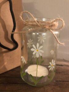 Individually hand painted Daisy Vintage tea light holder/vase
