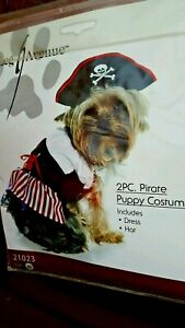 PIRATE COSTUME FOR YOUR DOG & PET, HALLOWEEN, XSM. 2 pc.