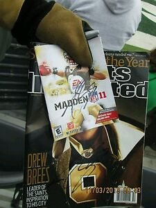 Drew Brees Signed NFL Madden 2011 PS3 Cover Autograph Game & Case Included