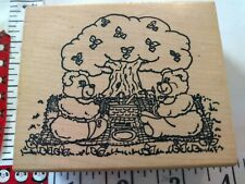Teddy bears picnic, tree, embossing, 202, wood,rubber,stamp, Free Usa ship offer