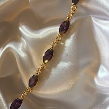 "GB Purple marquise amethysts 18ct gold filled bracelet 7.25"" long BOXED Plum UK"