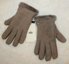 NWT $155 UGG Women's Shearling & Suede Gloves Gray L