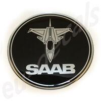 """75mm/2.95"""" JET SAAB BLACK Chrome Rear Badge Emblem for 900 NG models 3D decal"""