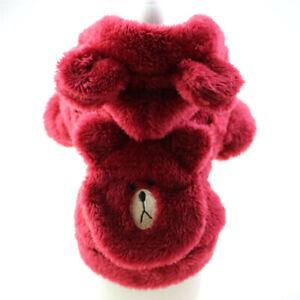 Small Pet Dog Jacket Clothes Warm Fleece Cute Bear Hoodie Coat Puppy Cat Coat