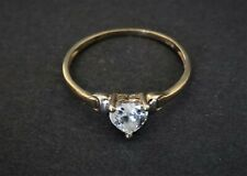 9ct gold heart shape cubic zirconia ring size M