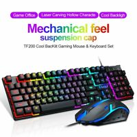 Mechanical Wired Gaming Keyboard Mouse Ergonomic LED Backlit For PC Gamer Laptop