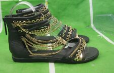 new Summer Black/Gold Womens Fashion Ankle Strap Gladiator Sandals Size  7