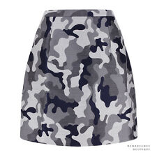 Christopher Kane Runway Grey Navy Camouflage Jacquard Pencil Skirt UK12 IT44