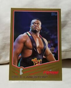 Big E Langston 2013 Topps WWE Gold Parallel Rookie RC Card #3 WWF/NXT/AEW #d /10