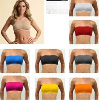 Womens Strapless Padded Bra Bandeau Tube Top Removable Pads Seamless Crop