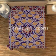 Decorative Indian Cotton Vintage Uzbek Suzani Bed Cover Twin Embroidered Bedding