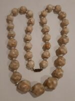 vintage Art Deco Unusual Celluloid Carved Bead Necklace