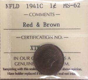 1941C Newfoundland Canada One Cent - ICCS MS-62 Red & Brown - #XTK 833