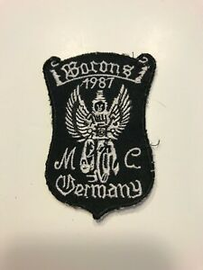 """VINTAGE 1987 EMBROIDERED BARONS GEMANY MOTORCYCLE CLUB JACKET PATCH 3"""" X 2"""""""