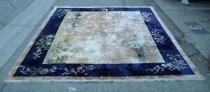 ANTIQUE HANDWOVEN 100%SILK CHINESE FLORAL RUG BEIGE BACKGROUND NAVY BLUE BORDER