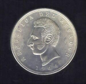 1944 REPUBLIC DEL ECUADOR CINCO SUCRES 720 SILVER COIN KM#79