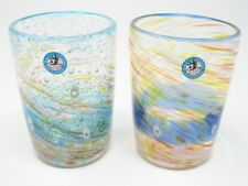Pair of Water Blue & Deep Blue Ocean-flower-garden Handmade Ryukyu Glass Cups