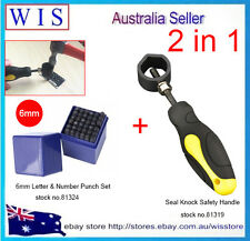 """36pc 6mm (1/4"""") Letter & Number Punch Set w Seal Knock Safety Handle,2 in 1 Set"""