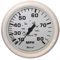 "Faria Dress White 4"" Speedometer - 80MPH (Mechanical)  33113"