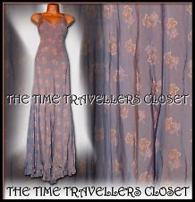 Kate Moss Topshop Lilla Rosa arancio floreale Fishtail Maxi abito Vintage 20 S UK 6