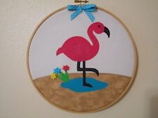 * Cute Pink Flamingo Glamper Decorating -  Hoop Art *Hand Crafted* Home Decor
