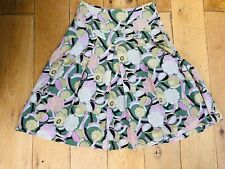 Laura Ashley Silk Blend Skirt Size 8 Pastel Green Pink Abstract Floral W27 L24