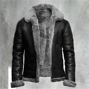 Thick Coat Fashion Cowboy Leather Lamb Fur Lined Warm Winter Men Overcoat Jacket