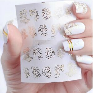 Nail Art Water Decals Stickers Transfers Beautiful Gold  Flowers Ferns Floral