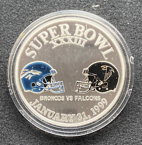 1999 Denver Broncos Super Bowl Champions 1oz .999 Silver Enameled Coin