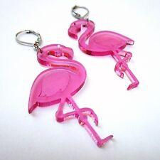 Big Pink Flamingo Laser Cut Hula Luau Dangle Earrings w/ Closed Leverback Clasp