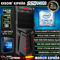 Ordenador Gaming Pc Intel I5 9400F 16GB DDR4 SSD 240GB Zotac GTX1650 4GB Windows