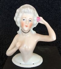 Antique Porcelain Half Doll Nude Germany pin cushion with pink flower c.1879