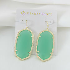 Kendra Scott Danielle statement Gold Drop Earrings In Chalcedony Glass NEW