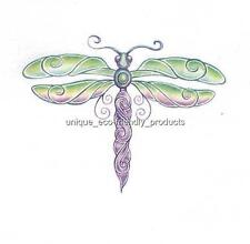DRAGONFLY PURPLE AND GREEN Temporary Tattoo SEE SIZE IN LISTING