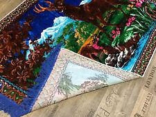 Wandteppich aus Italien 170 cm X 120 cm Hirsch Motiv Wandbehang Unikat  Blau