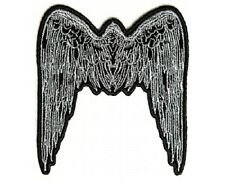 "(A51) Small GREY ANGEL WINGS 2.75"" x 3"" iron on patch (2610) Biker Vest"