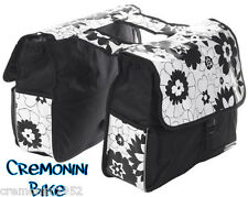 Borse laterali bici bicicletta città spesa fiori flower bag bike bianco nere