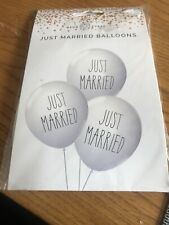 Just Married Balloons I. Black Text On The  Front - White Packet 12