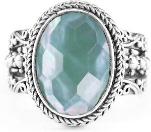 SARDA 925 Sterling RING Size 7  NWT Green Chalcedony Mother of Pearl Quartz