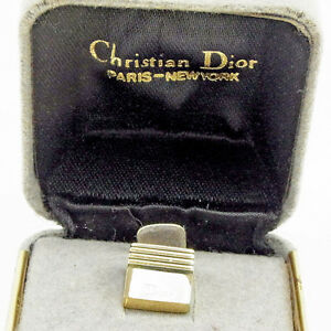Dior Neck Tie Pin Clip Clasp Gold Silver Woman unisex Authentic Used Y6943