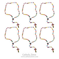 "(6) CT 15"" Cord Rosary for Kid Saint Multi Color Prayer Beads Nativity Center"