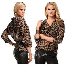 Summer Women Ladies Leopard Print Long Sleeve Casual Loose T-shirt Tops Blouse
