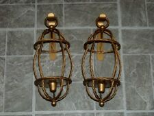 2 VTG HOMCO GOLD METAL WALL RUSTIC ROPE CANDLE STICK HOLDERS LANTERN SCONCES  SET