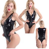 Women's Zipper Bodysuit Latex PU Leather Deep V Lingerie Romper Dance Clubwear
