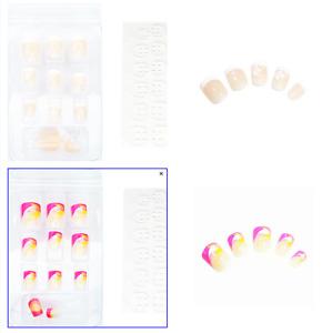 48 Kunstnägel Short Full Size Cover Nails Natur Nude + Pink  mit Pads K-SH1