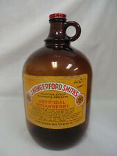 1950'S J HUNGERFORD SMITH STRAWBERRY SODA FOUNTAIN SYRUP JUG BOTTLE W/LID