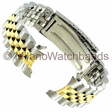 19mm Timex Mens Two Tone Stainless Metal Fold Over Clasp Watch Band