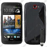 Housse Etui Coque Silicone Motif S-line Gel Souple Noir HTC One S + Mini Stylet