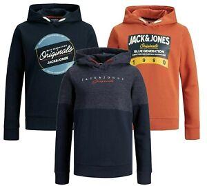 Boys Jack & Jones Sweatshirt Logo Hoodies Long Sleeve Kids Jumper Hooded Sweater