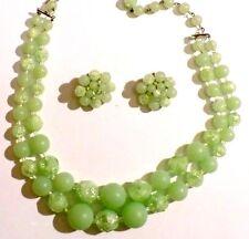 parure bijou vintage collier 2 rangs perles boucles clips perles vert d'eau 505